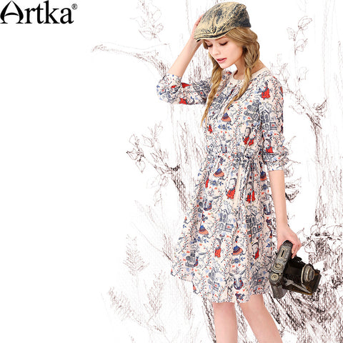 Artka Women's Autumn New Fashion O-Neck Full Sleeve Printed Patchwork Comfy Chiffon Dress LA10867Q - Alternative Measures