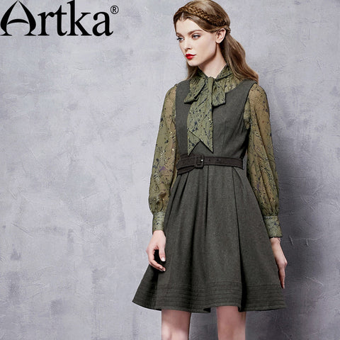 Artka Women's Autumn New Solid Color All-match Dress Vintage Sleeveless Wide Hem Dress With Sashes LA10363Q - Alternative Measures