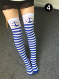 1 Pair Overknee Women 6 Partern Items Cosplay  Fashionable  Striped stockings#24583 - Alternative Measures