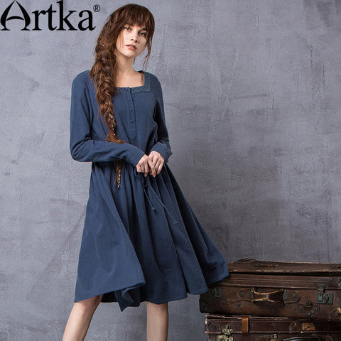 Artka Women's Autumn New Solid Color Embroidery Dress Vintage Square Collar Long Sleeve Drawstring Waist Dress LA11660Q - Alternative Measures