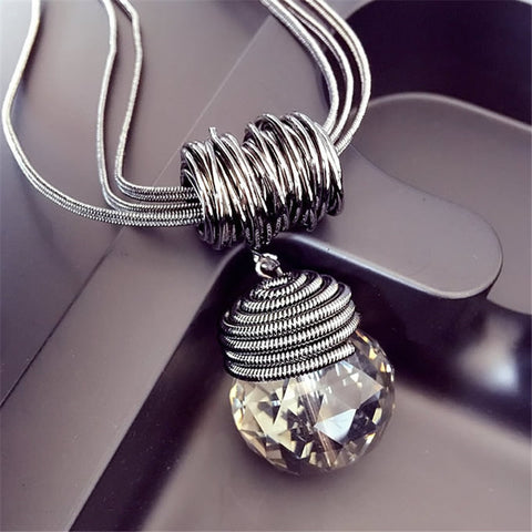 Lemon Value New Statement Rhinestone Ball Long Necklace Vintage Punk Glass Crystal Pendants Necklaces Women Jewelry Gift TP050 - Alternative Measures