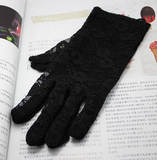 1 pair Sale 2015 New Arrival Party Sexy Lady Lace Gloves Mittens  Accessories  Black/White/Red - Alternative Measures