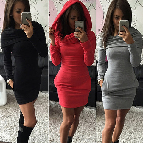 2015 Autumn Women Hooded Hoody Sweatshirt Dress Ladies Bodycon Hoodies Jumper Dress - Alternative Measures