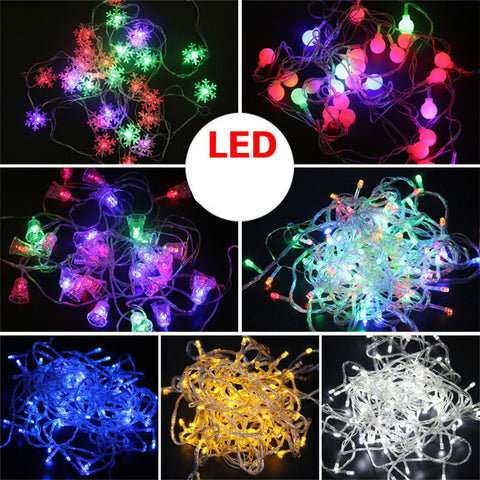 10M Waterproof 220V LED String lights for Christmas Festival Party Fairy Colorful Xmas LED String Light Snowflake Bell Ball FD64 - Alternative Measures