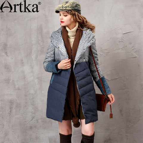 Artka Women's 2015 Winter Vintage 90% White Duck Down Medium-Long Down Jacket Denim Patched Warm Down Coat ZK15750D - Alternative Measures