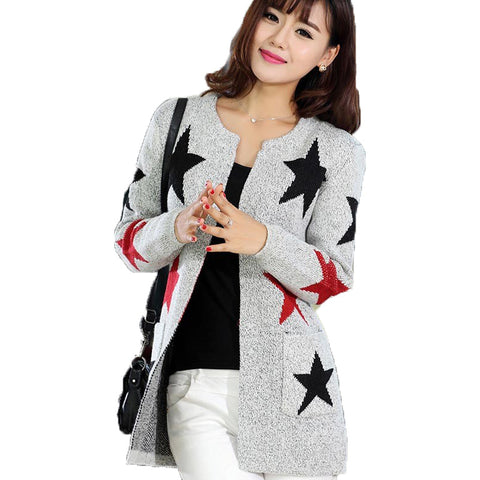 2016 New Arrivals Fashion Star Pattern Cardigans Female Sweaters Long Sleeve Knitted Slim Women Sweater Cardigan Womens Top Coat - Alternative Measures