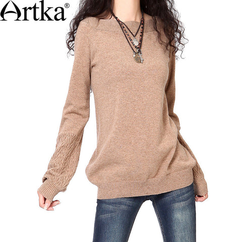 Artka Spring Women'S Casual Solid Style All-Match Lantern Sleeve  Slit Neckline Thermal Spring Cashmere Sweater SC14437D - Alternative Measures