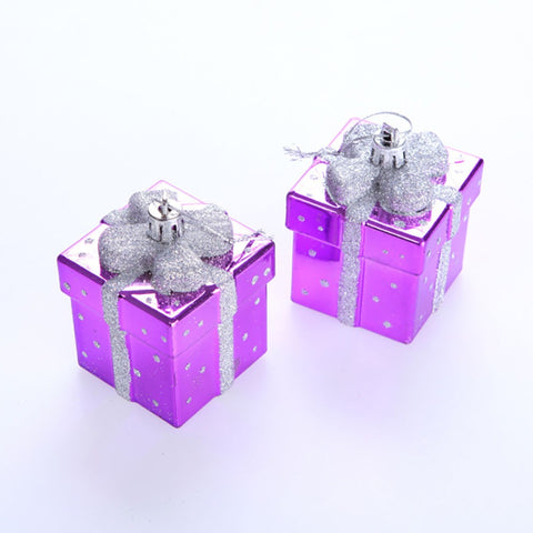 (Pack of 6) 2.8-Inch Silver/Purple/Red/Golden Exquisite Glitter Hanging Gift Bags Christmas XMAS Tree Wreaths Decor Ornament - Alternative Measures