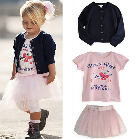 0-5 Years 3 Pieces Girls Clothes Set T-shirt+Coat+Skirt Outfits Baby Clothing TuTu Dress XL046 L4 - Alternative Measures