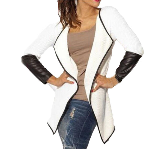 2016 Spring Autumn Women Splice Pu Leather Long Sleeve Knitted Cardigan Thin Coat Jacket Outwear Poncho White Grey Black S-XL - Alternative Measures