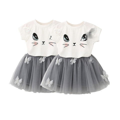 2 Pcs Suit Summer Fashion Baby Girls Short Sleeve Clothes Cartoon Kitten Printed T-shirt Pompon Veil Skirt Butterfly Set - Alternative Measures