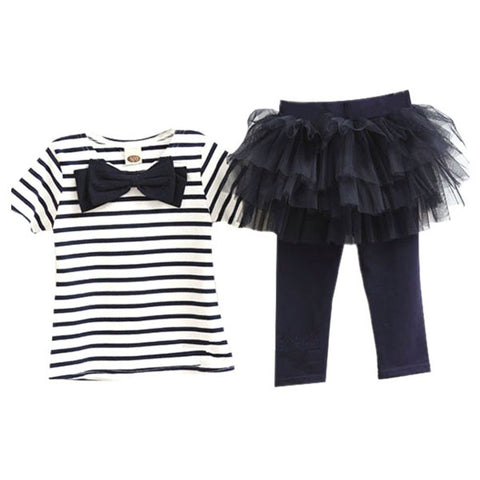 2 Pieces 2016 Kid Girls Clothes Set Stripe Bow Top T-shirt + Tutu Skirt Leggings Culottes Outfit Clothing Sets V2 - Alternative Measures