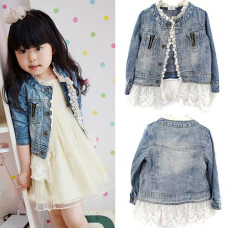 2-7Years Jean Jacket Girls Kids Denim Lace Coat Long Sleeve Botton Children Outwear Clothes 2016  L4 - Alternative Measures