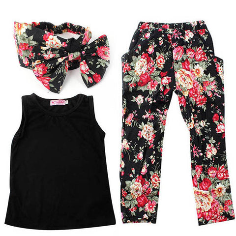 2-7Y Girls Baby Clothing Sets 3PCS Sleeveless Shirt/Tops + Floral Pants + Headband Vogue Clothes L4 - Alternative Measures