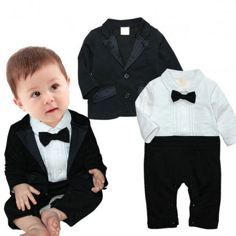 0-4T Kids Baby Boys Clothing Set Gentleman Romper Jumpsuit Bodysuit Coats Clothes 2PCS Outfit  L4 - Alternative Measures