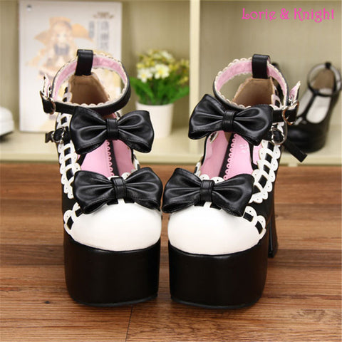 12.5CM High Heel Black and White Leather Pumps Sweet Lace Trim Bowknot Strap Lolita Girls Shoes - Alternative Measures