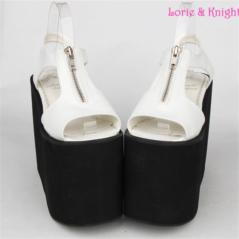 16cm Extreme High Platform Wedge Heel Sandals Zipper Opening Black and White Leather Sandals - Alternative Measures