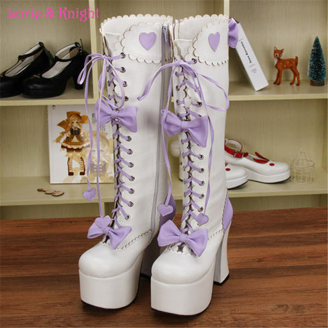 12.5cm Super High Heel Platform Princess High Boots White & Purple Leather Lace-up Bows Sweet Lolita Cosplay Boots - Alternative Measures