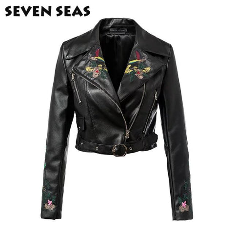 Fashion Punk Rave Black Leather Jackets Embroidery Motorcycle Jacket Women Coats Veste cuir femme - Alternative Measures