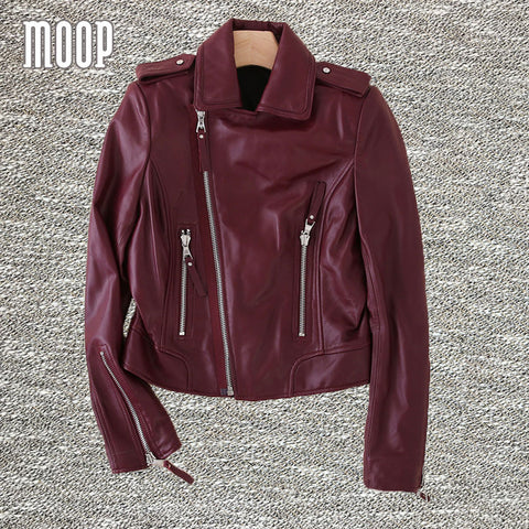 2 Colors genuine leather jackets women 100%sheepskin motorcycle jacket real leather coats veste en cuir femme LT474 Free ship - Alternative Measures