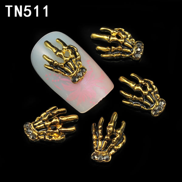 10 Pcs Glitter Gold And Black Hand 3D Nail Art Rhinestones,Decorations Used Gel Polish DIY Alloy Charm Nails ToolsTN511 - Alternative Measures