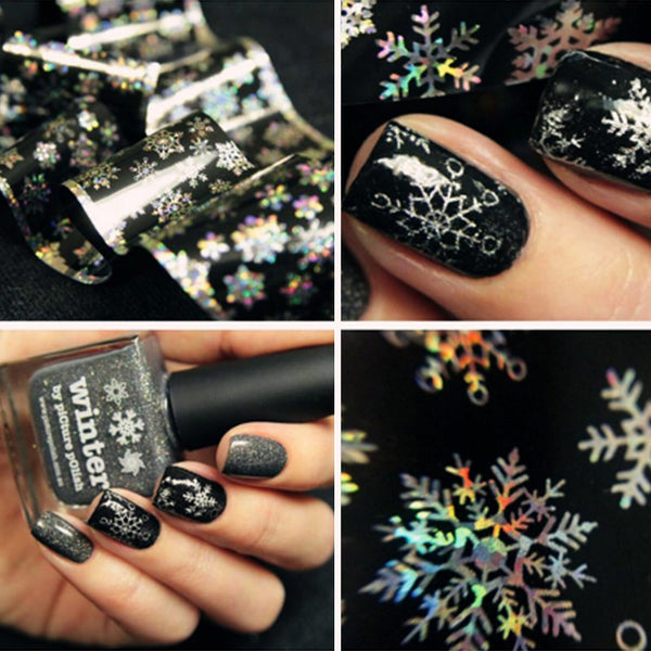 1 sheet 100cm*4cm  Christmas Snowflake Holographic Nail Foils Nail Art Transfer Sticker Paper  # 22930 - Alternative Measures