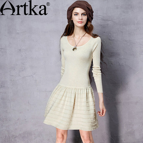 Artka Women's Autumn New 3 Colors Slim Fit Knitted Dress Vinatge O-Neck Long Sleeve All-match A-Line Dress LB15655Q - Alternative Measures
