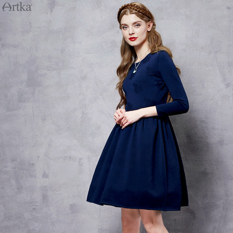 Artka Women's 2016 New Winter Round Neck Knitwear Dress Navy  Long Sleeve High Wait Sweater Party Dress LB10662Q - Alternative Measures