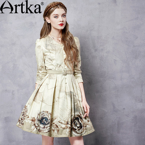 Artka Women's Autumn New Printed Slim Fit Dress Vintage V-Neck Long Sleeve Empire Waist Wide Hem Dress With Sashes LA11366Q - Alternative Measures