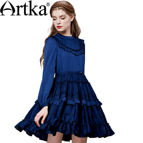 Artka Women's Autumn New 2 Colors Wide Hem Dress Vintage O-Neck Lantern Sleeve Cinched Waist Dress With Ruffles LA11262Q - Alternative Measures