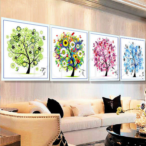 Four Season Home Decor Colorful Tree Counted Craft Cross Stitch Kit Embroidery A19214 Alternative Measures
