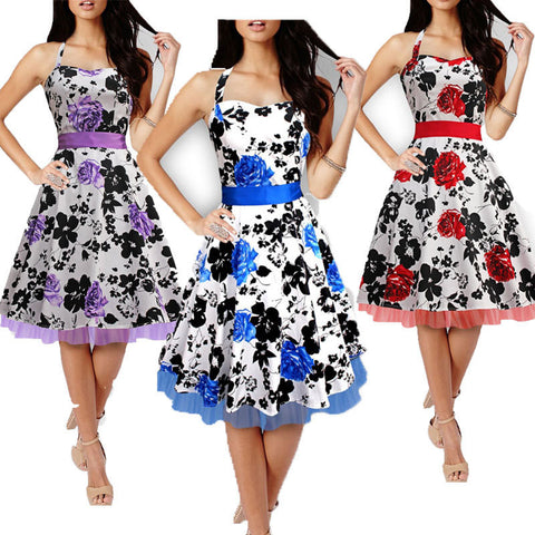 2016 New Summer Style Floral Print Party Dresses Women Rockabilly 50s 60s Print Dress Casual Sleeveless Vintage Dress Plus Size - Alternative Measures
