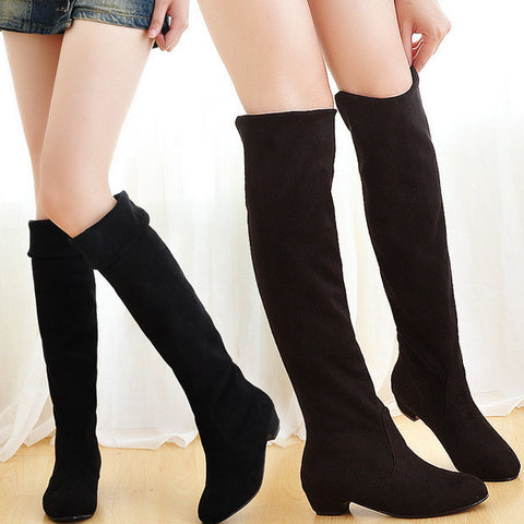 2016 New Fashion Sweet Lady Shoes High Thigh Knee Autumn Winter Over-the-Knee Casual Women Boots Plus Size Boots for Women O106 - Alternative Measures