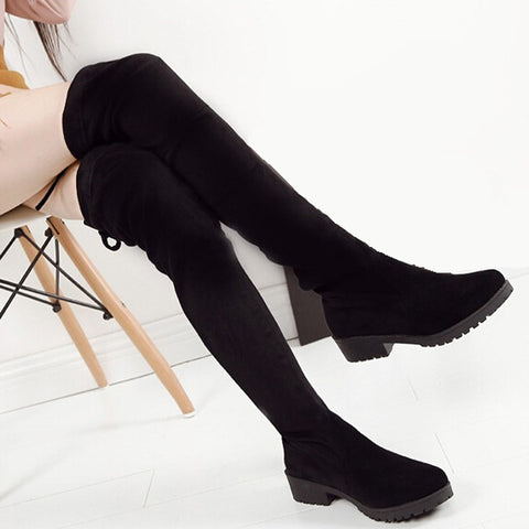 2016 Shoes Women New Over The Knee Thigh High Black Boots Women Motorcycle Flats Long Boots Low Heel Seude Leather Shoe - Alternative Measures