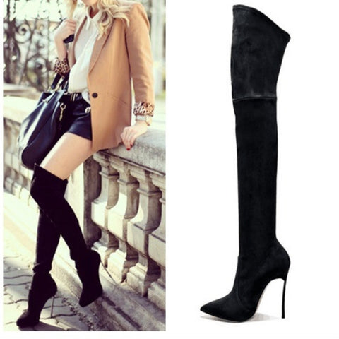 2016 Autumn Winter Women Boots Stretch Faux Suede Slim Thigh High Boots Fashion Sexy Over the Knee Boots High Heels Shoes Woman - Alternative Measures