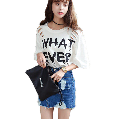 2016 Ladies Woman Sexy Ripped Slashed Black White Loose T Shirt Top Summer Casual Cut out Tee Top Goth Punk Rave Hole Plus Size - Alternative Measures