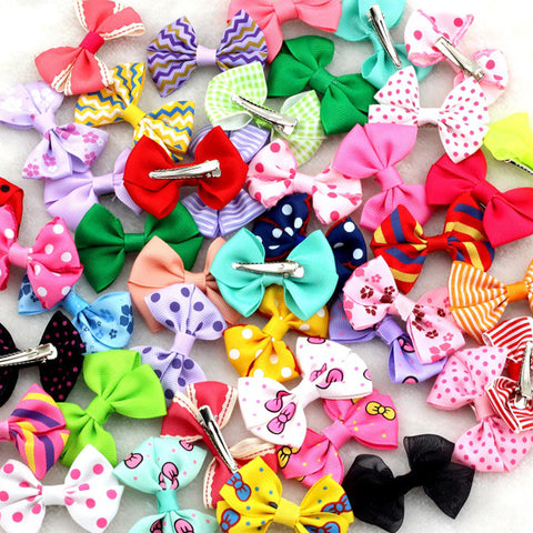 "10Pcs/lot New 2.5""Ribbon Bow clip Girl little hair top clip Dot/Printed/Solid Bow Hairpin for Baby Children accessories for hair - Alternative Measures"