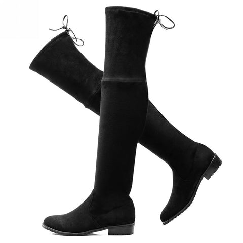 2016 women thigh high boots over the knee motorcycle boots winter and autumn woman shoes plus size 4-11 botas mujer femininas - Alternative Measures