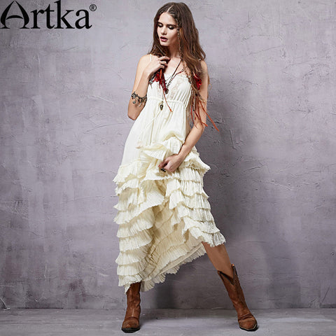 Artka Women's 2015 Mexico Summer New Vintage Lace Decoration Patchwork Elegant Dress Sleeveless Cotton Dress LA14151C - Alternative Measures