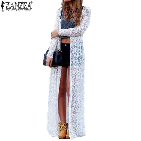 6 Color Blusas 2016 Women Outwear Lace Crochet Long Sleeve Beach Kimono Cardigan Casual Loose Long Blouses Tops Plus Size Shirts - Alternative Measures