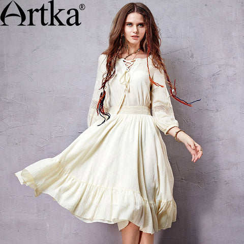 Artka Women's  Exclusive Custom Bohemian Style Dress V-neck Lantern Sleeve Knee-length Perforated  Wide Hem Dress LA10056C - Alternative Measures