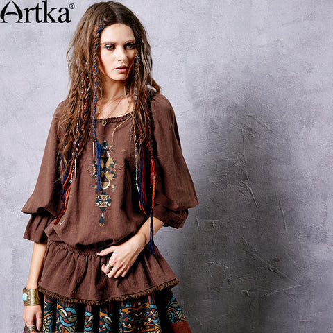 Artka Women's Autumn New 2 Colors Ethnic Embroidery Shirt Vintage O-Neck Nine Quarter Sleeve Ruffled Hem Shirt SA10661Q - Alternative Measures
