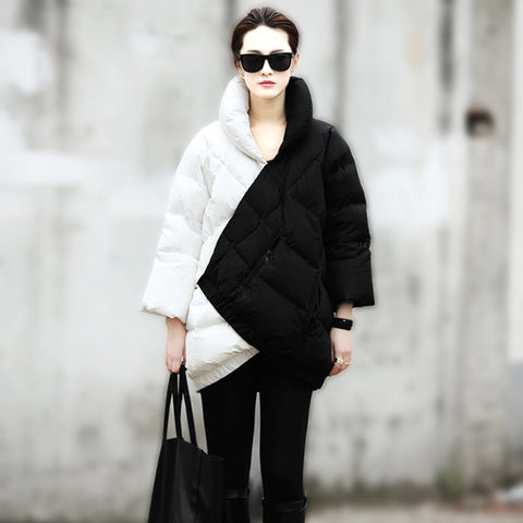 2014 Winter Coat Women New European Fashion Week Catwalk Long Section Black And White Mix Color Pregnant Thick Warm Down Jacket - Alternative Measures