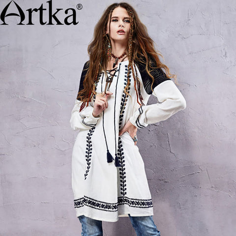 Artka Women's Autumn New Boho Style Hollow Out Embroidery Patchwork Dress Vintage O-Neck Long Sleeve Loose Style Dress LA14158C - Alternative Measures