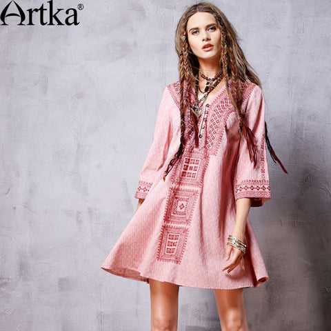 Artka Women's 2016 Spring New Bohemian Style Embroidery Dress Comfy V-Neck Three Quarter Sleeve Loose Dress LA16162C - Alternative Measures