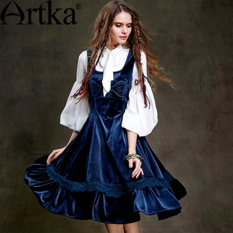 Artka Women's 2015 Autumn New Vintage Solid Color Elegant Sarah Van Square Collar One-piece Slim Dress LA15350Q - Alternative Measures