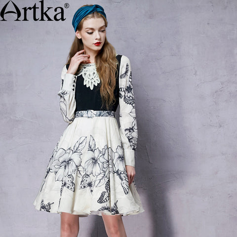 Artka Women's Autumn New Printed Appliques Patchwork Dress Vintage O-Neck Lantern Sleeve Empire Waist Dress With Sashes LA10850Q - Alternative Measures
