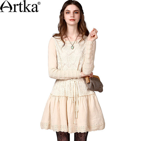 Artka Women's Autumn Crochet Lace Wavy Scoop Neck Drawcord Cinched Waist Long Sleeve Skin-friendly Combo Dress YB15248Q - Alternative Measures