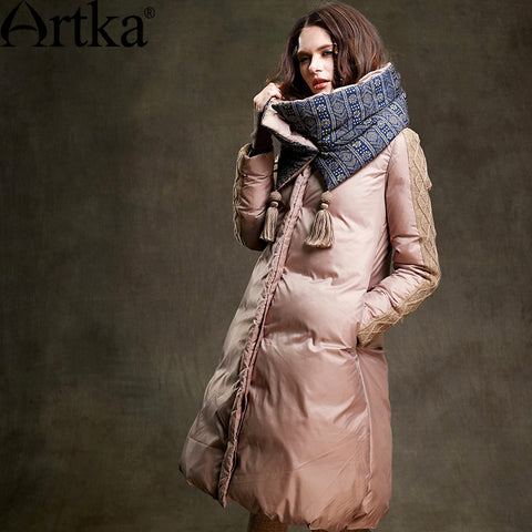 Artka Women's 2016 Winter Long Outerwear 90% Duck Down Coat Long-Sleeved Warm Down Coat Warm Long Quilted Jacket ZK15357D - Alternative Measures