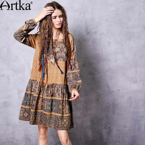 Artka Women's Autumn New Printed Vintage Square Collar Long Sleeve Loose Style All-match Dress LA10761Q - Alternative Measures